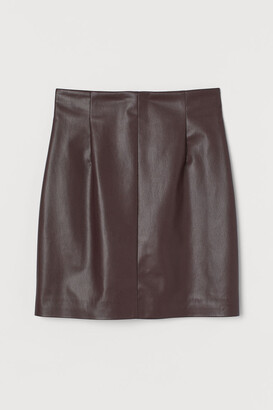 H&M Faux Leather Skirt - Red