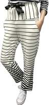uxcell Women Stripes Elastic Drawstring Waist Slant Pockets Casual Pants