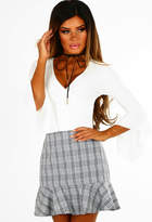 Pink Boutique Check On It Grey Check Frill Hem Mini Skirt