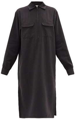 Lemaire Flap-pocket Silk-blend Midi Dress - Womens - Black
