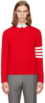 Thom Browne Red Classic Crewneck Pullover