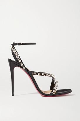 Christian Louboutin Mafaldina Spikes 100 Leather Sandals - Black
