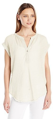 Velvet by Graham & Spencer Women's Slub with Contrast Henley Tee