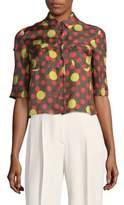 RED Valentino Militare Polka Dots Silk Button-Down Shirt