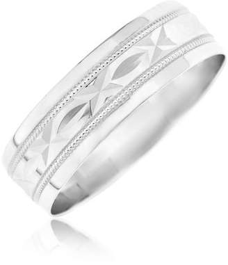Kareco 9ct White Gold 6mm Diamond Cut D Shape Message Wedding Band Ring 'Sealed with a Kiss'- Size U