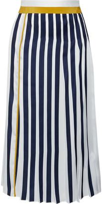 Victoria Victoria Beckham Pleated Two-tone Twill Midi Skirt