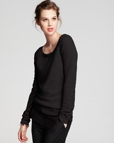 Aqua Cashmere Sweater - Scoop Neck with Mesh Sleeves