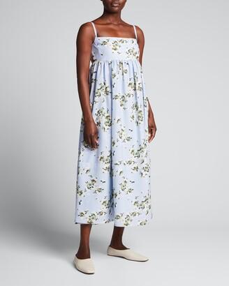ADEAM Hydrangea-Print Midi Dress