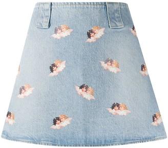 Fiorucci Angels Print Denim Skirt