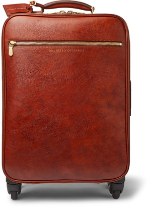 Brunello Cucinelli Burnished-Leather Carry-On Suitcase