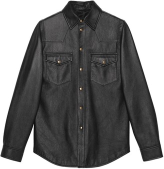 Gucci Leather shirt with logo