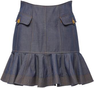 Acler Delton Flare Denim Mini Skirt