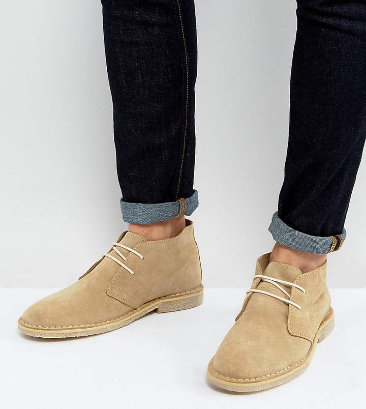Asos Design DESIGN Wide Fit desert boots in stone suede