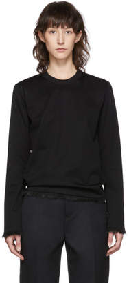 Noir Kei Ninomiya Black Faux-Fur Detail Long Sleeve T-Shirt