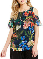 Gibson & Latimer Cold-Shoulder Ruffle Tropical Print Blouse
