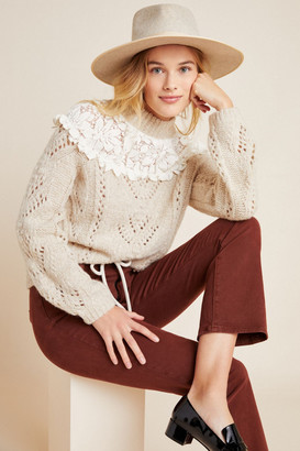 Anthropologie Suzanne Pointelle Lace Sweater