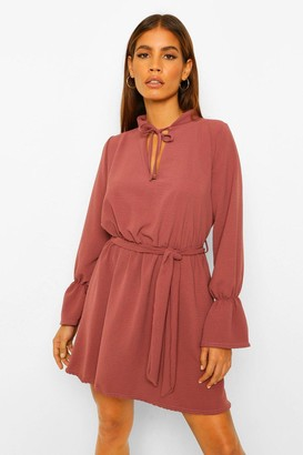 boohoo Petite Volume Sleeve Linen Look Skater Dress