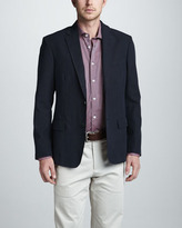Billy Reid Linen-Cotton Blazer, Navy