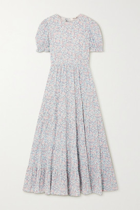 TVF - Fern Tiered Floral-print Crepe De Chine Maxi Dress - Mint