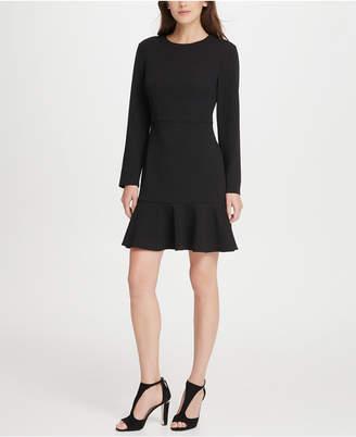DKNY Sleeved Flounce Hem A-Line Dress