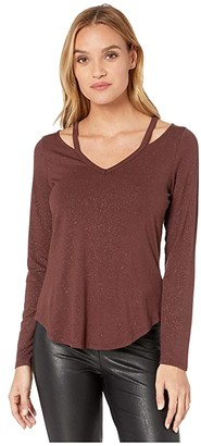 Chaser Diamond Jersey Vented Shoulder V-Neck Shirttail Tee (Toasty) Women's Clothing