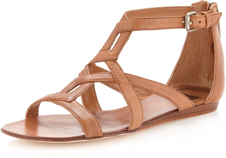 Dolce Vita Ida Cutout Covered-Back Flat Sandal, Tan