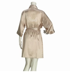 Lillian Rose Champagne Satin Bride Robe, Online Only