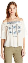 Flying Tomato Women's Off-Shoulder Embroidery Top