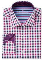 Michelsons of London Men's Slim-Fit Navy/Pink Check Dress Shirt