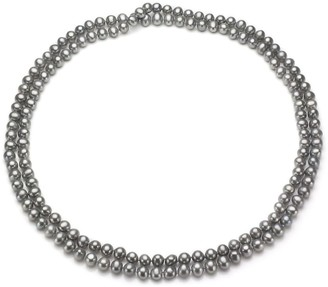 """DaVonna 7-8mm Grey Freshwater Pearl Endless Necklace, 72"""""""