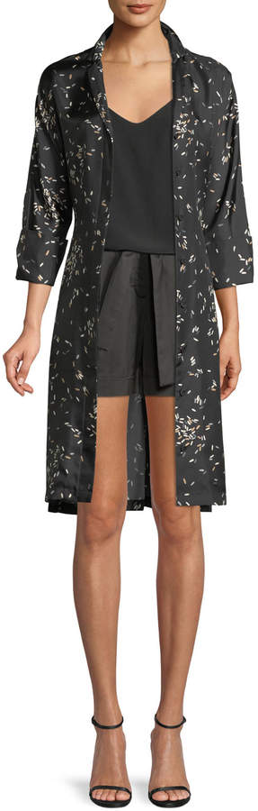 Lafayette 148 New York Calleigh Decorative Dashes Silk Duster Dress