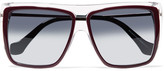 Balenciaga Square-frame Acetate And Gold-tone Sunglasses - Burgundy