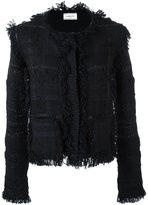 Lanvin rough edged tweed jacket - women - Silk/Polyamide/Polyester/Alpaca - XL