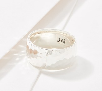 Jai JAI Sterling Silver Wide Hammered Band Ring