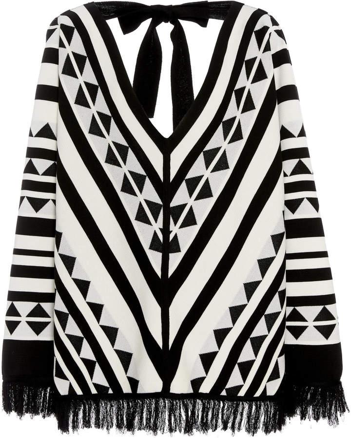 Oscar de la Renta Fringed Patterned Silk-Blend Sweater