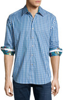 Robert Graham Luxor Long-Sleeve Sport Shirt, Turquoise