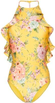 Zimmermann halterneck ruffled floral swimsuit