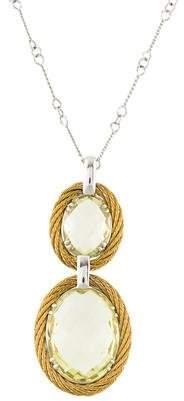 Charriol 18K Citrine Double Stone Pendant Necklace