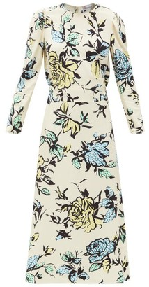 RED Valentino Bow-embellished Floral-print Crepe Midi Dress - Cream Multi