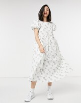 Thumbnail for your product : Lost Ink midi dress with drawstring details in textured vintage floral