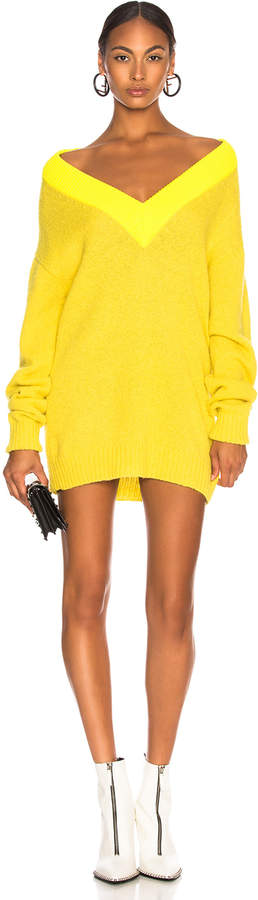 Airy Alpaca Sweater Deep V-Neck Tunic Pullover in Lemon Yellow M