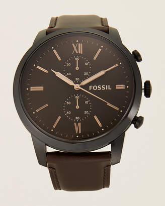Fossil FS5547 Black-Tone Leather Watch