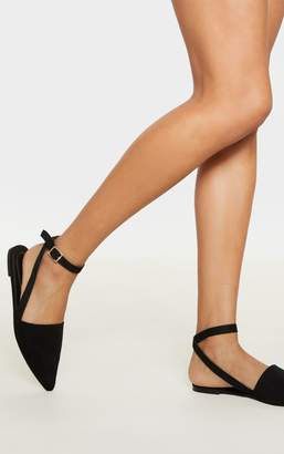 PrettyLittleThing Black Point Toe Slingback Ankle Strap Flat