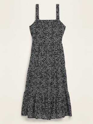 Old Navy Tiered Floral-Print Midi Swing Dress for Women