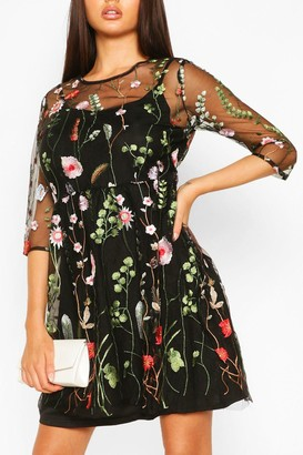 boohoo Floral Embroidery Mesh Overlay Dress