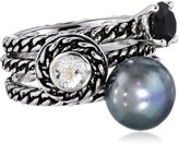 "Honora Skinny Jeans"" Freshwater Cultured Pearl with Gemstone Stackable Ring, Size 7"