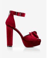Express velvet bow platform thick heel