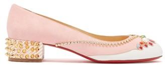 Christian Louboutin Hippipump Crystal Applique Suede Ballet Flats - Womens - Light Pink