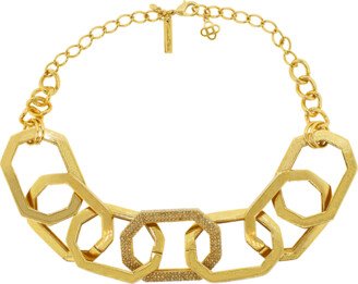 Oscar de la Renta Elongated Octagon Link Necklace