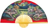 Oriental Furniture Asian Art, Decor and Gifts, 60-Inch Hand Painted Thai Silk and Bamboo Decorative Wall Fan, Spring Harvest